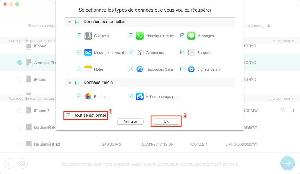 Restaurer iPhone depuis sauvegarde iTunes corrompue/incompatible - étape 4