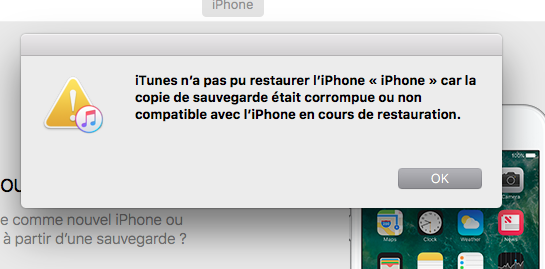 iTunes n'a pas pu restaurer iPhone