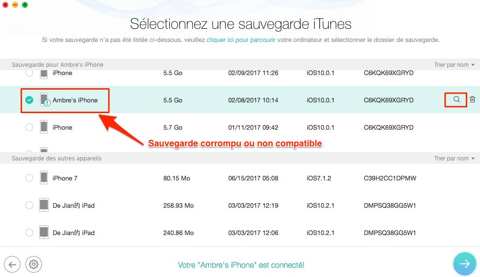 Localisez correctement la sauvegarde iTunes corrompue ou non compatible - étape 3