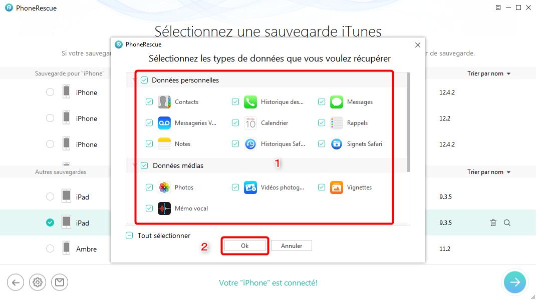 Choisissez la section des données iOS - étape 2