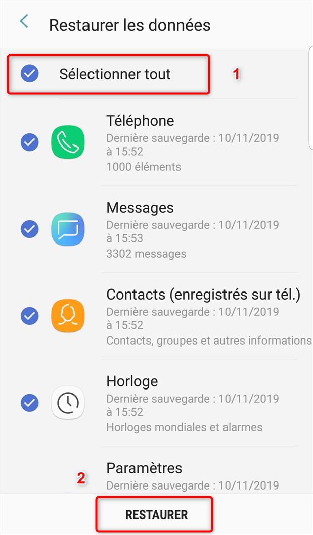 Restauration des données via Samsung Cloud