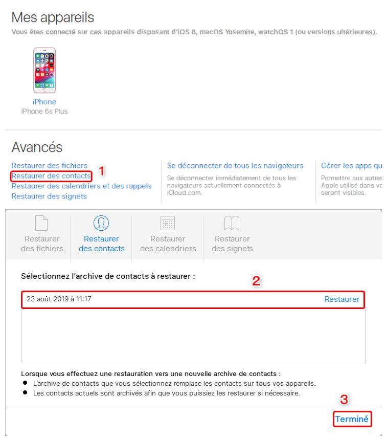 Restaurer les contacts perdus depuis iCloud