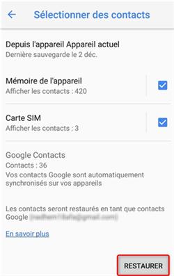 Récupération des contacts via Google Contacts