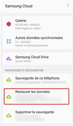 Restauration des données Samsung