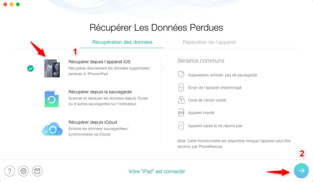 Restaurer l'historique Safari depuis iPad – étape 2