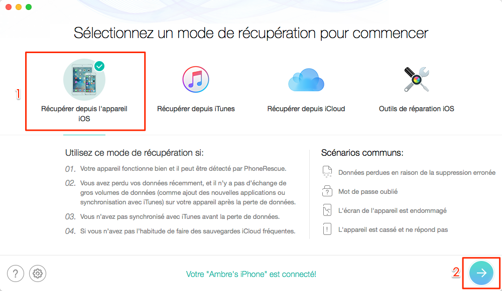 Comment restaurer iPhone/iPad sans iTunes - étape 1