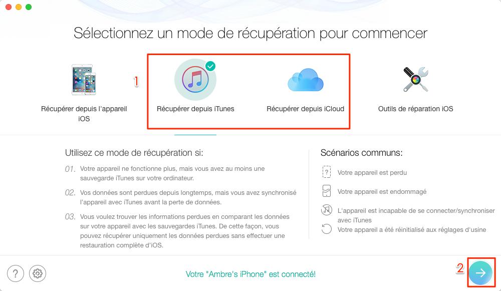 Restaurez iPhone/iPad depuis sauvegarde sans iTunes - étape 1