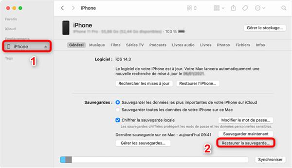 Restauration des données sur iPhone
