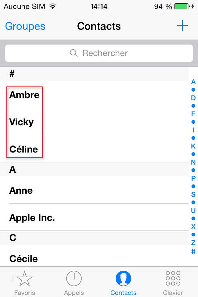 La récupération de contacts iPhone 4s terminé