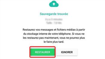 Restauration de la sauvegarde WhatsApp