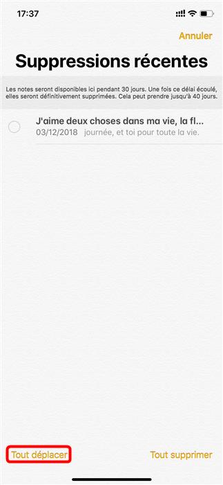 Récupérer les notes supprimées iPhone 6/6s(plus) - étape 4