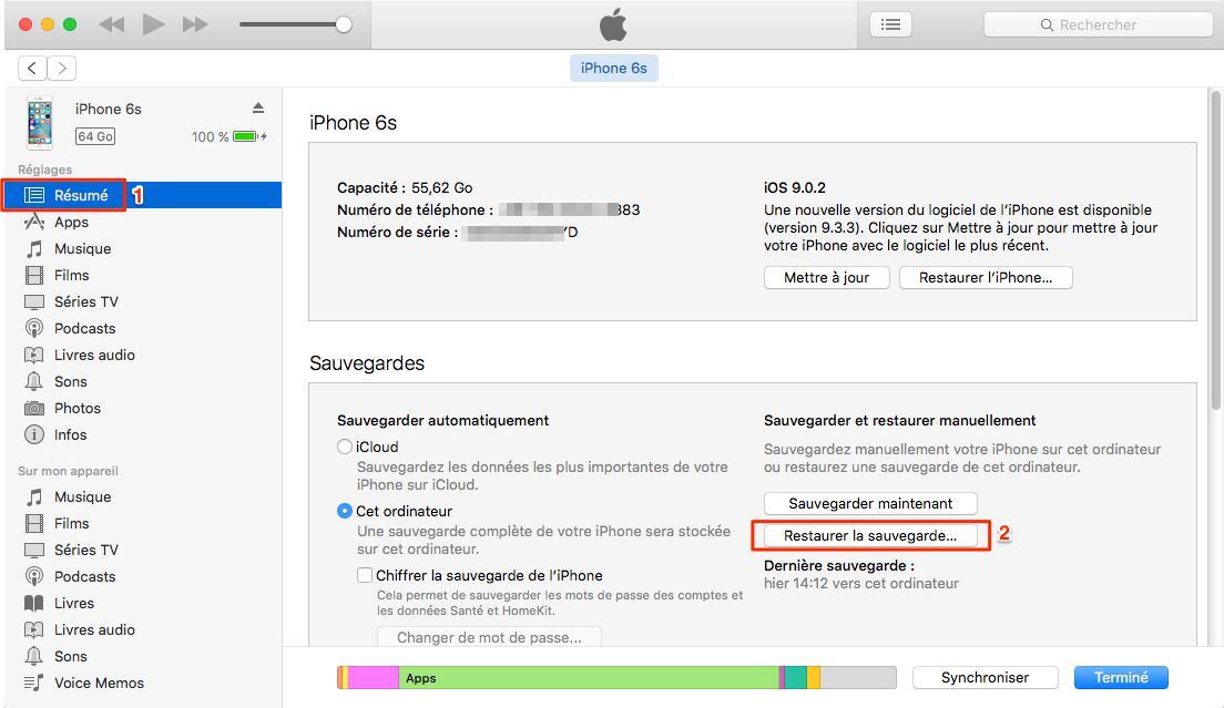 Restaurer un nouvel iPhone depuis une sauvegarde iTunes – étape 1