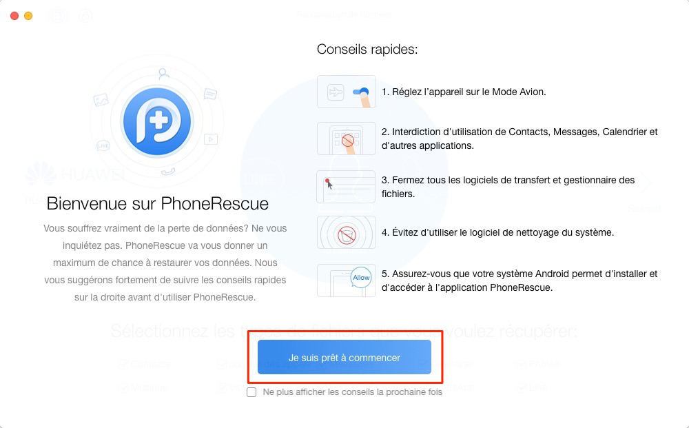 L'interface sur PhoneRescue pour Android