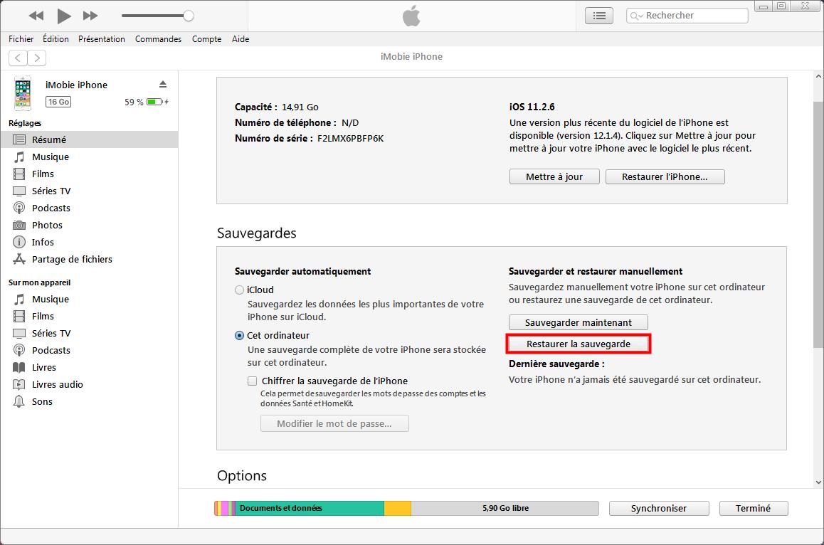 Restaurer la sauvegarde depuis iTunes - étape 2