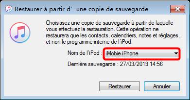 Restaurer un iPhone à partir d'une sauvegarde iTunes - étape 3
