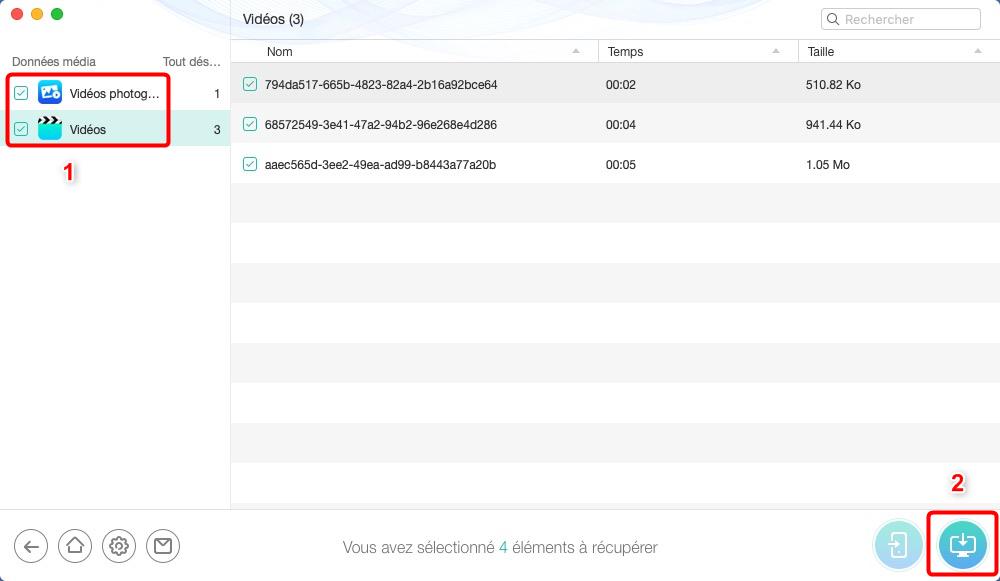 Restaurer vidéos effacées d'iPad – étape 3