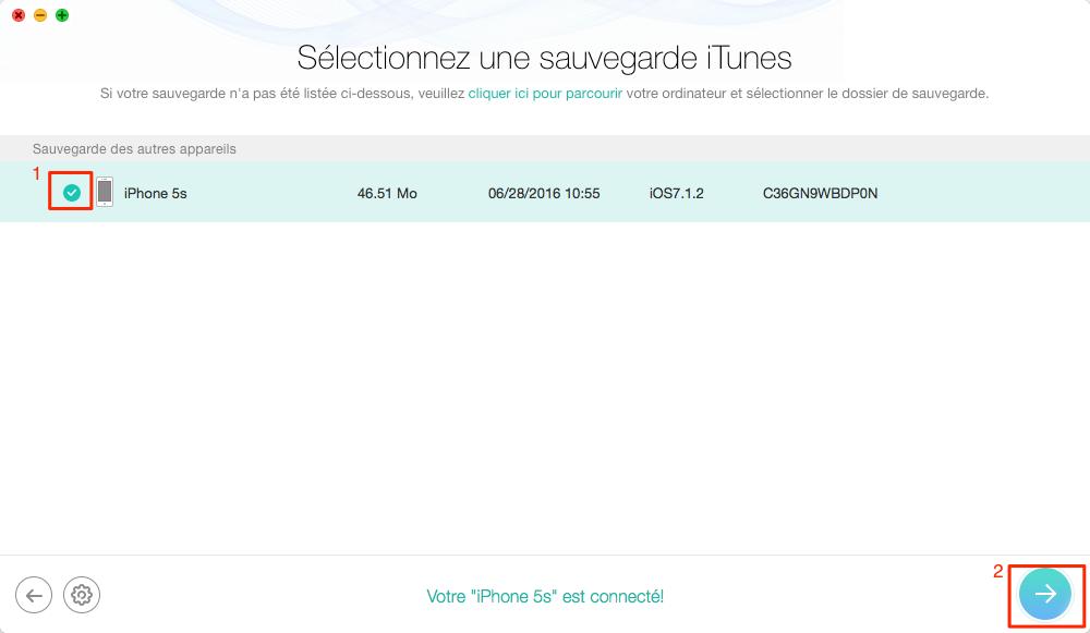 Choisissez une sauvegarde iTunes