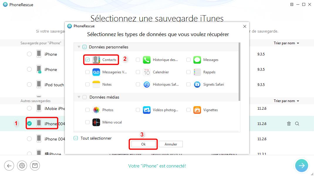 Retrouver les contacts via iTunes sur iPhone cassé - étape 2