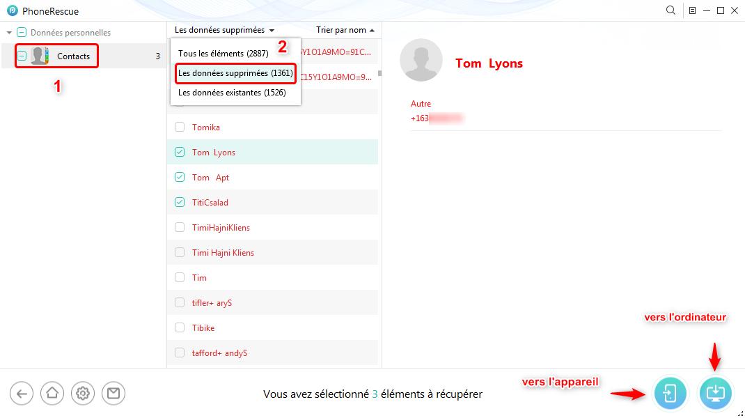 Retrouver contacts perdus via iTunes - étape 3
