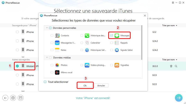 Restaurer les SMS supprimés sur iPhone 11/XS/XR/X/8/7 - étape 2
