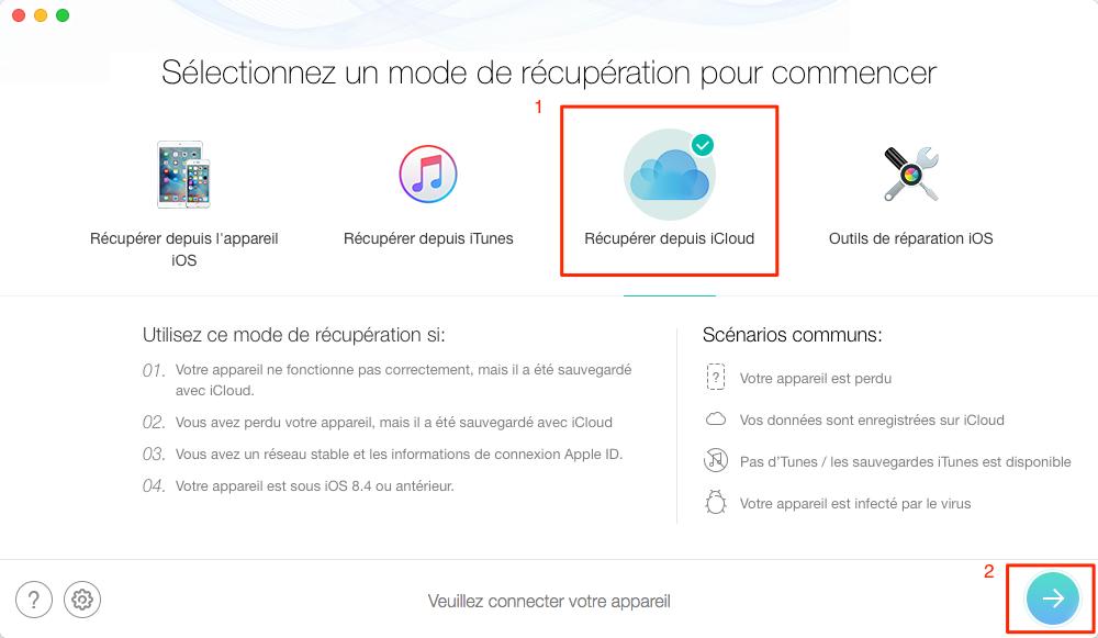 Comment restaurer des données depuis iCloud avec PhoneRescue – étape 1