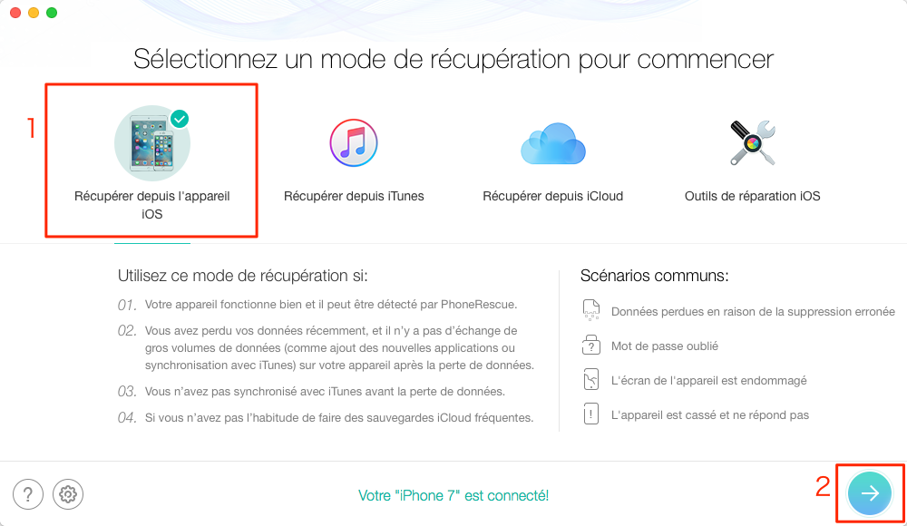 Récupérer l'historique Safari depuis iPhone 7 (Plus) – étape 2