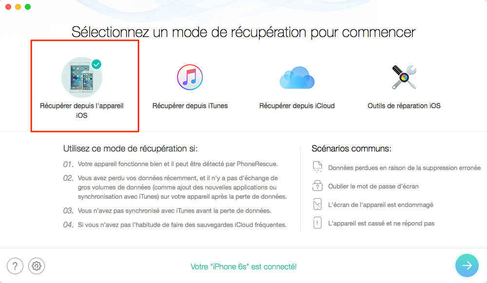 Restaurer contacts depuis un iPhone