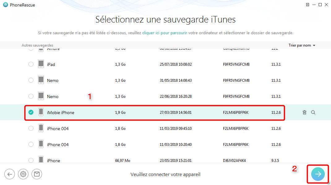 Sélectez la sauvegarde convenable d'iTunes - étape 3