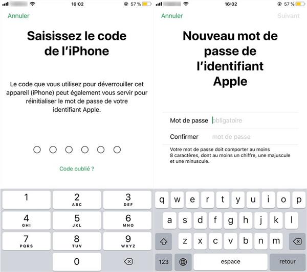 Définissez un nouveau mot de passe d'Apple