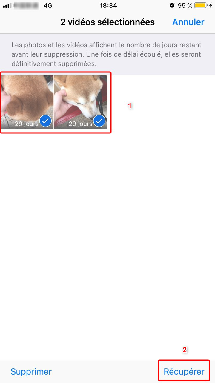 Restaurer des vidéos iPhone – étape 2