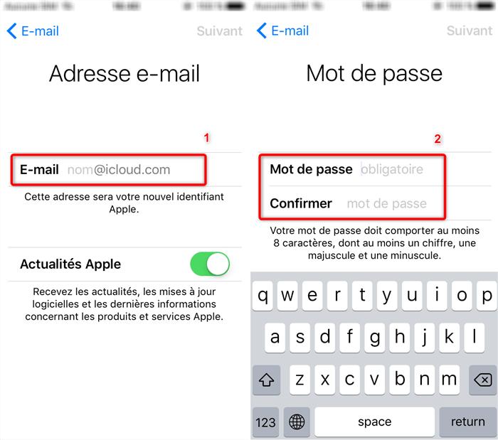 Configuration de l'identifiant Apple