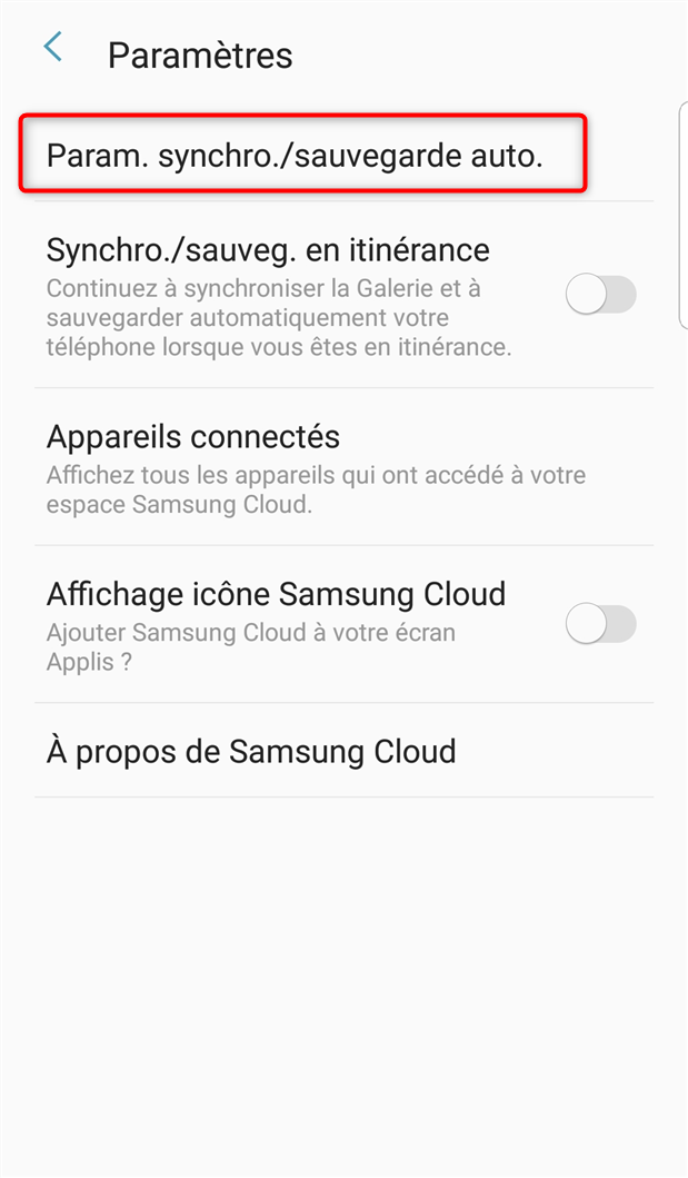 Sauvegarde automatique de Samsung Cloud