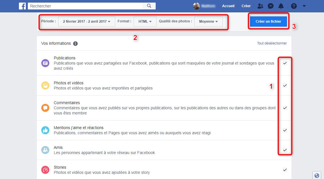 Sauvegarde des données Facebook - étape 3