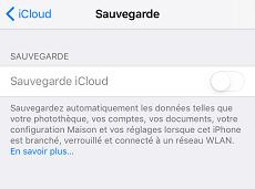 Sauvegarde iCloud ne fonctionne pas