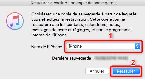 Récupération de la sauvegarde iTunes