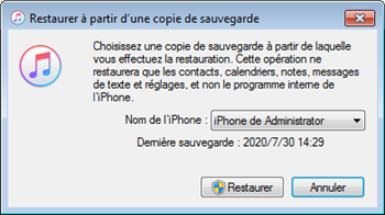 La sauvegarde d'iTunes