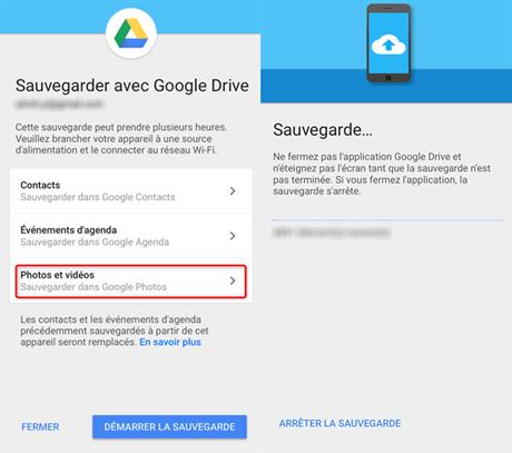 Sauvegarde des photos dans Google Drive