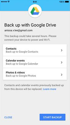 Sauvegarder des photos via Google Drive
