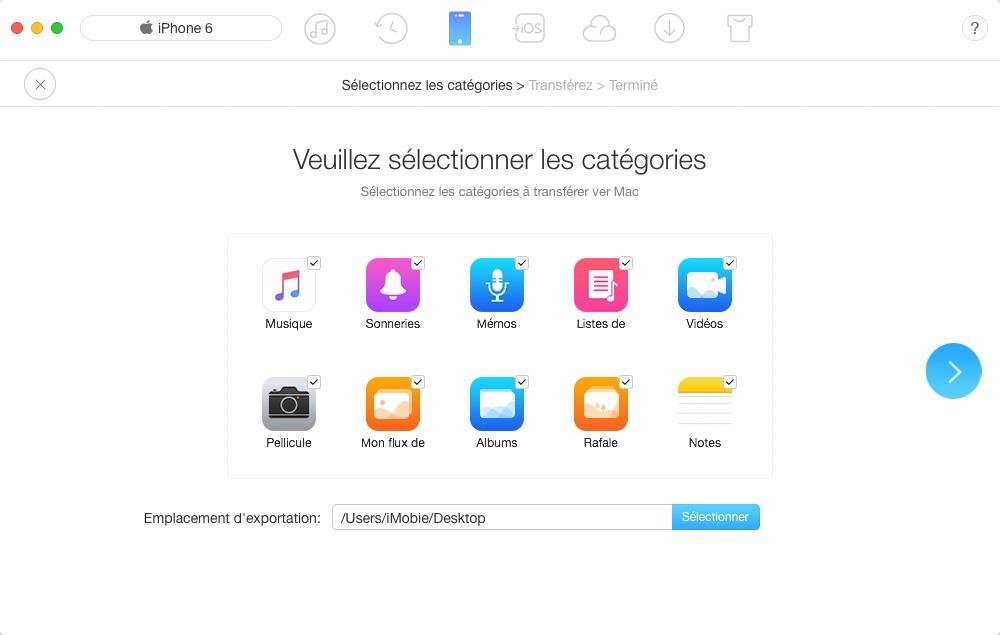 Sauvegarder les données de l'iPhone sur l'ordinateur via AnyTrans pour iOS