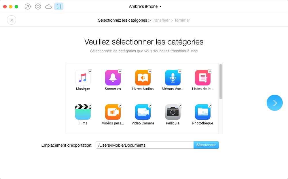 Sauvegarder les données de l'iPhone sur l'ordinateur via AnyTrans