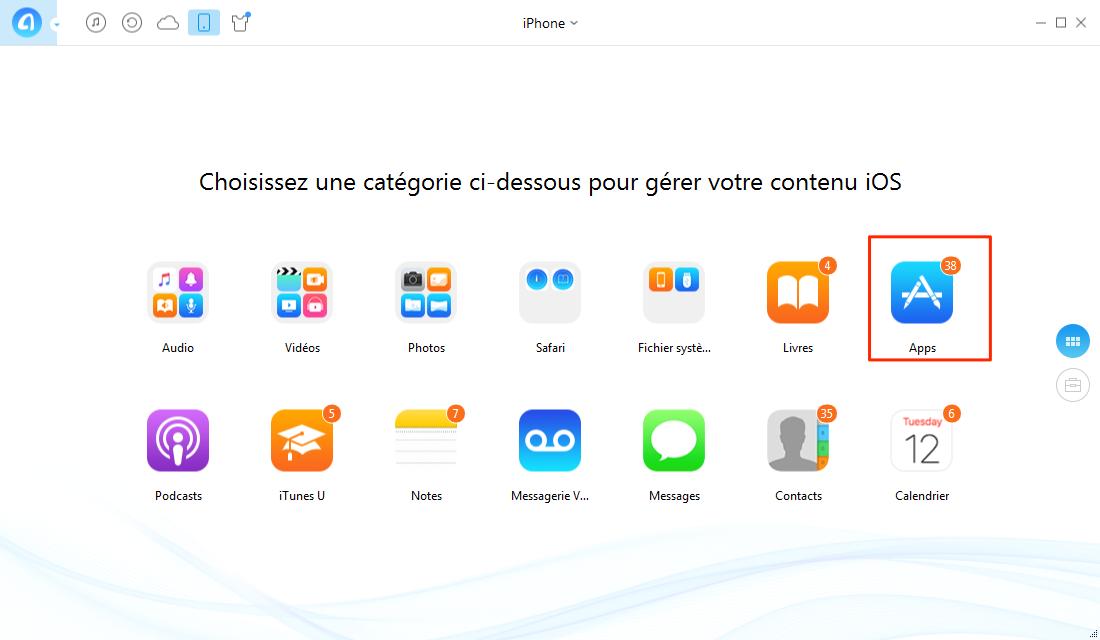 Sauvegarder applications iPhone sur PC- étape 2