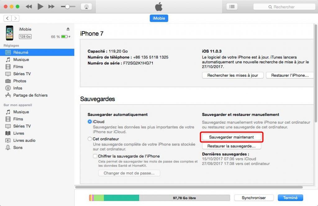 Comment sauvegarder les données iPhone sur Mac avec iTnues