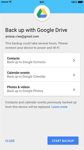 Sauvegarder des données via Google Drive