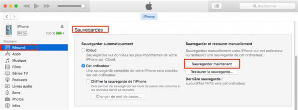 Sauvegarder l'iPhone avec iTunes