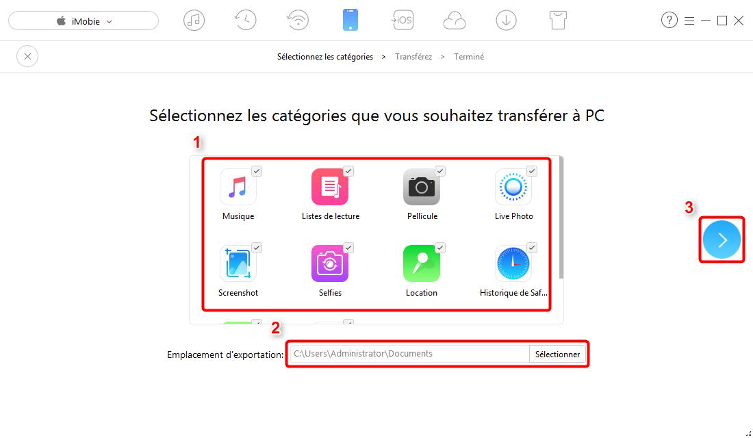 Sauvegarder iPhone sur un disque dur externe avec AnyTrans pour iOS – étape 3