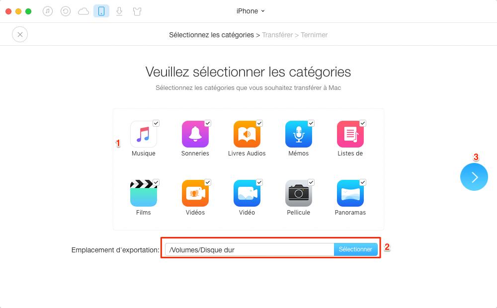 Sauvegarder iPhone sur un disque dur externe avec AnyTrans – étape 3