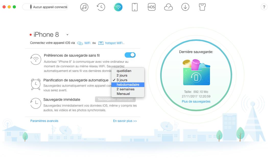 Comment faire pour sauvegarder l'iPhone à l'ordinateur via Wi-Fi - Étape 2
