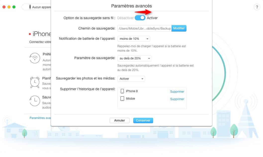 Comment faire pour sauvegarder l'iPhone à l'ordinateur via Wi-Fi - Étape 3