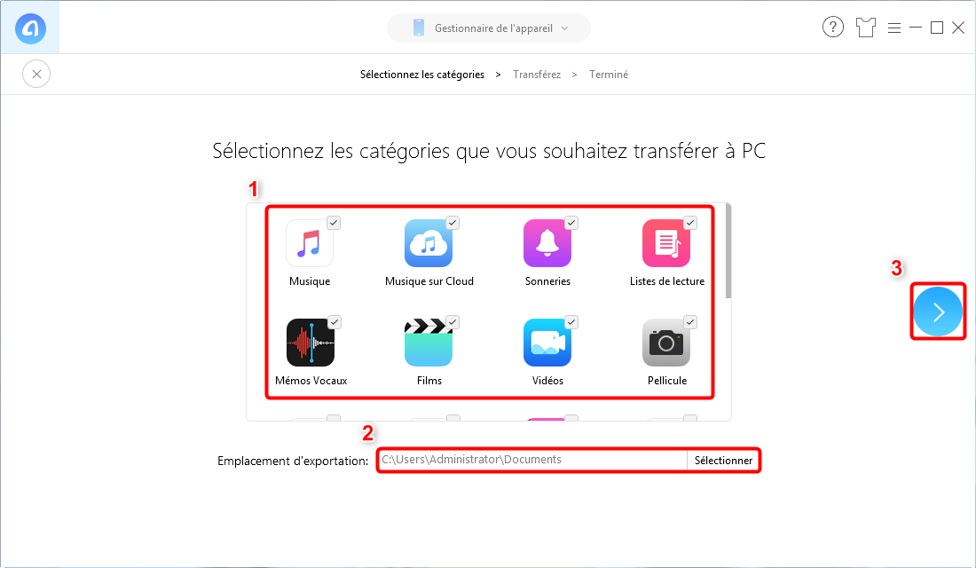 Comment sauvegarder toutes les données sur iPhone XS (Max)/XR - Étape 2