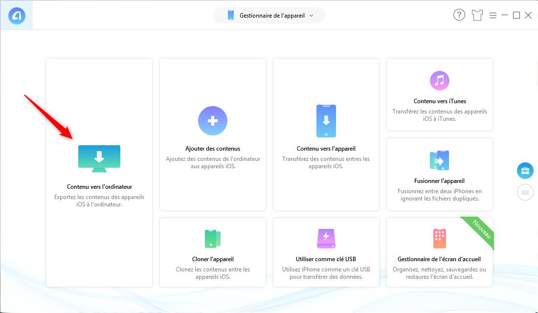 Sauvegarder iPhone XS (Max)/XR sans iTunes/iCloud - Étape 1